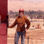 Welding up huge square columns on an IBM building in San Jose, CA.  This monster building took up an acre and was 4 floors - under one roof!  About 1984.