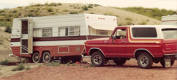 The 23 ft. travel trailer and ole Hoss, my 78 Bronco - when I worked on a new coal mine near Decker, MT.  Shelly and I lived in that trailer for 3 years!