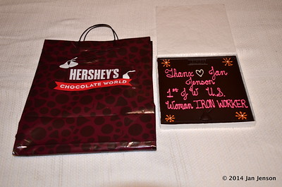 Went to visit my friend Sondra in PA in 2014 and she had this HUGE chocolate bar made for me when we toured Hershey Chocolate World in Hershey, PA.  August 2014.