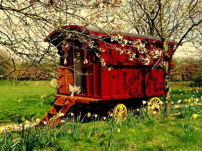 """I think I'd like to have this red gypsy wagon for my """"camper""""   Wouldn't that be FUN!!"""