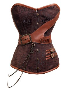 Found this steampunk corset online recently.  Think I will make one, using the bolt of RED LEATHER I have stashed on top of my dresser... and maybe a long skirt with ripped-leather look on the bottom...