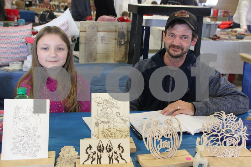 Shown here (left to right) is: Payten and Jerry Kramer, a vendor at the recent Flea Market. On January, 14, 2017 the Fort Dodge Webster County Fairgrounds was the sight of the Winter Flea Market.
