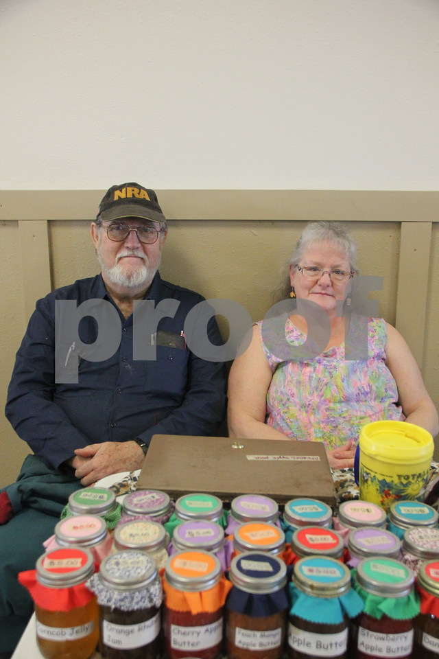 Pictured here (left to right) is: John and Becky Carter with several jars of their assorted home made canned jellies. They were one of many vendors present. On January, 14, 2017 the Fort Dodge Webster County Fairgrounds was the sight of the Winter Flea Market.