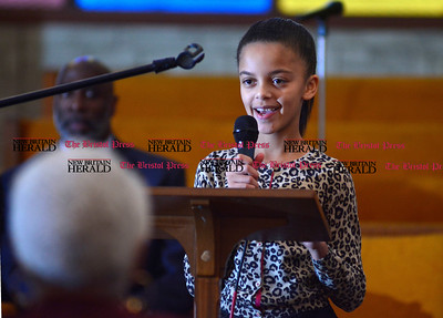 1/1/2016 Mike Orazzi | Staff Kayla Ford during the New Britain Brand NAACP Emancipation Day Program at the Bethesda Apostolic Church Friday morning.