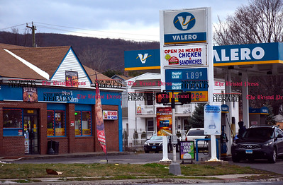1/1/2016 Mike Orazzi | Staff The Valero gas station at the corner of Pine and Emmett Street where a stabbing occurred around midnight.