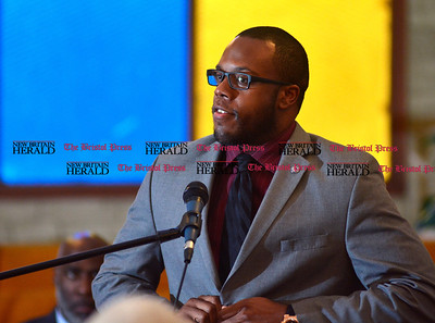 1/1/2016 Mike Orazzi | Staff Tremell J.Collins during the New Britain Brand NAACP Emancipation Day Program at the Bethesda Apostolic Church Friday morning.