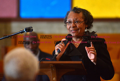 1/1/2016 Mike Orazzi | Staff Lady Marcella Morris, Spottswood AME Zion Church, 1st Lady, sings the hymnal during the New Britain Brand NAACP Emancipation Day Program at the Bethesda Apostolic Church Friday morning.