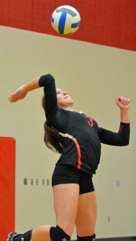 . KYLE MENNIG - ONEIDA DAILY DISPATCH Chittenango\'s Shelby Maring (3) serves during a match against Fabius-Pompey in Chittenango on Wednesday, Jan. 18, 2017.