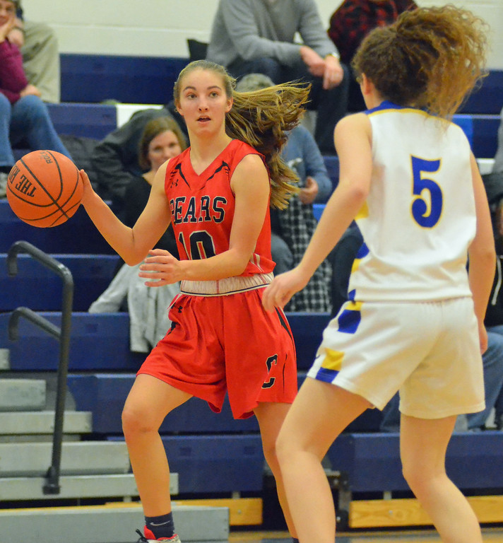. KYLE MENNIG - ONEIDA DAILY DISPATCH Chittenango\'s Ally Shoemaker (10) dribbles the ball as Cazenovia\'s Lauren Burbidge (5) defends during their game in Cazenovia on Tuesday, Jan. 31, 2017.