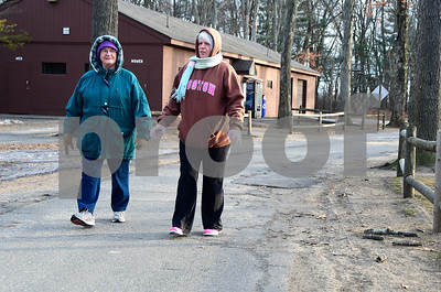 1/5/2017 Mike Orazzi | Staff Sisters Bobbi Hastings and Ruth Woodbury don't mind the cold while walking in Plainville's Norton Park Thursday. Hastings lives in Bristol and Woodbury is a Plainville resident.