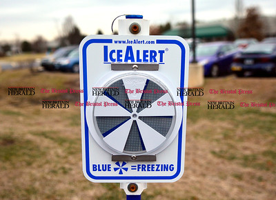 1/17/2017 Mike Orazzi | Staff An ice alert monitor in the parking lot at Connecticut Tool & Manufacturing in Plainville Tuesday.