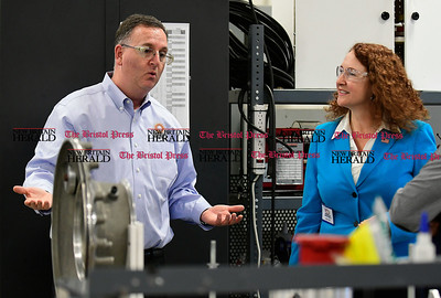 1/17/2017 Mike Orazzi | Staff Congresswoman Elizabeth Esty talks with Connecticut Tool & Manufacturing Vice President and General Manager Michael Greenwald on the floor of the Plainville manufacturer Tuesday.