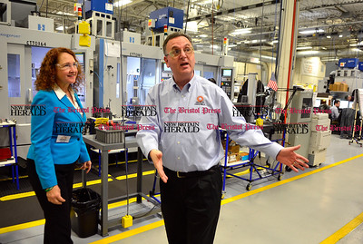 1/17/2017 Mike Orazzi | Staff Congresswoman Elizabeth Esty talks with Connecticut Tool & Manufacturing Vice President and General Manager Michael Greenwald at the Plainville manufacturer Tuesday.