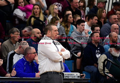 1/20/2017 Mike Orazzi | Staff Bristol Central Boys Basketball Coach Tim Barrette during Friday night's game with Bristol Eastern at BE.
