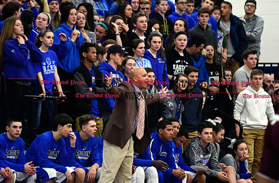 1/20/2017 Mike Orazzi | Staff Bristol Eastern Boys Basketball Coach Bunty Ray during Friday night's game with Bristol Central at BE.