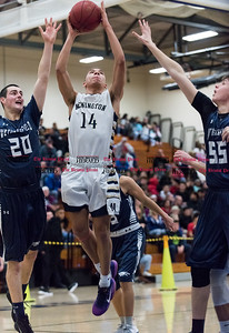 012017  Wesley Bunnell | Staff  Newington boys basketball vs Wethersfield on Friday evening at Newington High School. Andres Ithier Vicenty (14).