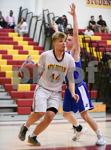 012317  Wesley Bunnell | Staff  New Britain boys basketball vs Bristol Eastern at New Britain High School. New Britain Daniel Kowmancki (44).