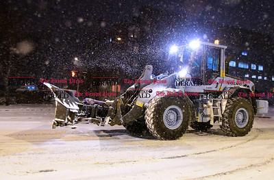 1/10/2017 Mike Orazzi | Staff Snow removal on North Main Street in Bristol Saturday night.