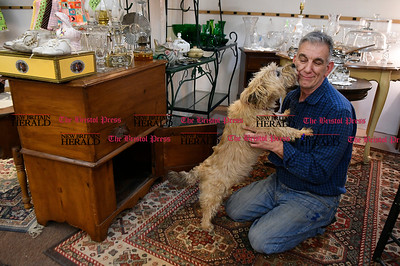 1/12/2017 Mike Orazzi | Staff Jim Palin with his dog Ben inside Corner Collective in Terryville.