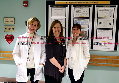 1/18/2017 Mike Orazzi | Staff Bristol Hospital's Donna Morris, infection Preventionist Safety/Emergency Preparedness Coordinator,Korey A. Roth Vice President of Quality & Safety Compliance Officer and Chris Ann Meaney, VP Patient Care Services Chief Nursing Officer.
