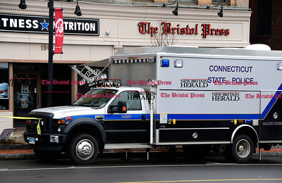1/18/2017 Mike Orazzi | Staff The state police major crime scene van on Main Street in Bristol Wednesday afternoon.