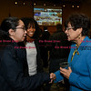 011917  Wesley Bunnell | Staff<br /> <br /> A reception was held on Thursday afternoon in CCSU's Student Center for incoming President Dr. Zulma R. Toro. Junior Clarissa Torres, left, along with Sophomore Naelah Miller, center, introduce themselves to President Toro.