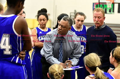 1/19/2017 Mike Orazzi | Staff Bristol Eastern Girls Basketball Coach Tony Floyd during Thursday night's girls basketball game at BC.