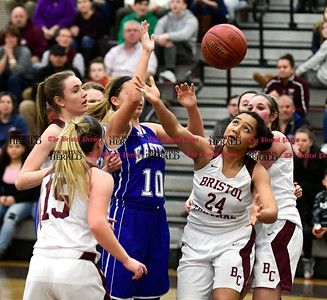 1/19/2017 Mike Orazzi | Staff Bristol Central's Zoe Sinclair (24) during Thursday night's girls basketball game at BC.