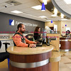 011917  Wesley Bunnell | Staff<br /> <br /> Farmington Bank in Plainville which features an open layout between tellers and customers.  Personal Banker Kelvin J. Vazquez , left, with Assistant Vice President & Branch Manager Solidea Pitruzzello.