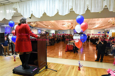 011917  Wesley Bunnell | Staff  Mayor Erin Stewart announced her 2017 re election campaign on Thursday evening at the St. George's Greek Orthodox Church Hall. Mayor Stewart delivering her speech.