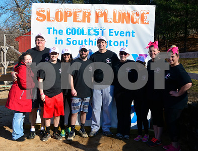 1/21/2017 Mike Orazzi | Staff Members of team Katie during the 12th Annual YMCA Sloper Plunge held at  YMCA Camp Sloper in Southington Saturday. The event raises money for camp scholarships.