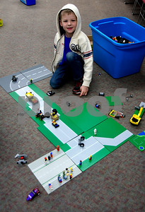 1/21/2017 Mike Orazzi | Staff Ethan Brown during a Rock the Block event at the Berlin-Peck Memorial Library where LEGO were provide for youngsters on Saturday.