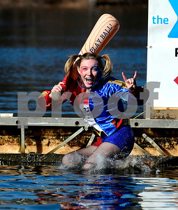 1/21/2017 Mike Orazzi | Staff Ciara Devaney during the 12th Annual YMCA Sloper Plunge held at  YMCA Camp Sloper in Southington Saturday. The event raises money for camp scholarships.