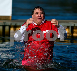 1/21/2017 Mike Orazzi | Staff Al Natell during the 12th Annual YMCA Sloper Plunge held at  YMCA Camp Sloper in Southington Saturday. The event raises money for camp scholarships.