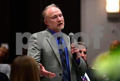 1/24/2017 Mike Orazzi | Staff Ultimate Wireforms Vice President of Operations Michael Brault questions legislators about the upcoming budget during the Central Connecticut Chambers of Commerce's annual Legislative Breakfast held at the DoubleTree by Hilton Tuesday morning in Bristol.