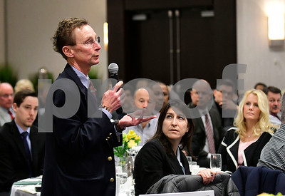 1/24/2017 Mike Orazzi | Staff Michael Suchopar, Bristol Boys and Girls Club chief Professional Officer, questions legislators about the upcoming budget during the Central Connecticut Chambers of Commerce's annual Legislative Breakfast held at the DoubleTree by Hilton Tuesday morning in Bristol.