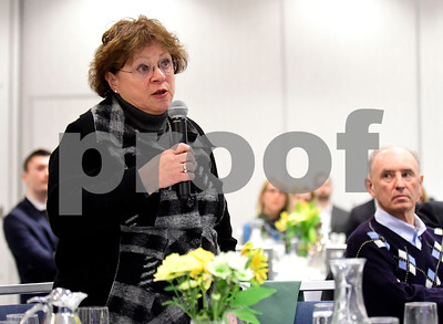 1/24/2017 Mike Orazzi | Staff Sue Moreau, Bristol Deputy Superintendent of Schools, questions legislators about the upcoming budget during the Central Connecticut Chambers of Commerce's annual Legislative Breakfast held at the DoubleTree by Hilton Tuesday morning in Bristol.