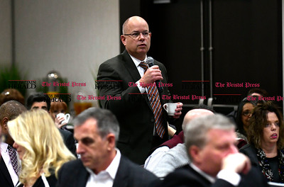 1/24/2017 Mike Orazzi | Staff Bristol Hospital President and CEO Kurt Barwis  questions legislators about the upcoming budget during the Central Connecticut Chambers of Commerce's annual Legislative Breakfast held at the DoubleTree by Hilton Tuesday morning in Bristol.
