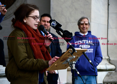1/26/2017 Mike Orazzi | Staff CCSU student Sarah Riley during an education funding rally at the state capitol in Hartford Thursday morning.