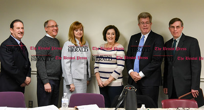 012617  Wesley Bunnell | Staff  Plainville held their State of the Town meeting on Thursday evening at the Plainville Public Library. From the left are Director of Planning and Development Mark Devoe, Director of Technical Services John Bossi, Superintendent of Schools Maureen Brummett, Town Council Chair Kathy Pugliese and Town Manager Robert E. Lee.