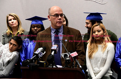 1/26/2017 Mike Orazzi | Staff John Brady Executive Vice President AFT Connecticut, during the CT Students for a Dream press conference at the state capitol in Hartford Thursday morning while supporting a campaign for tuition equality for undocumented students.  John Brady