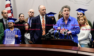 1/26/2017 Mike Orazzi | Staff State senator Beth Bye during the CT Students for a Dream press conference at the state capitol in Hartford Thursday morning while supporting a campaign for tuition equality for undocumented students.