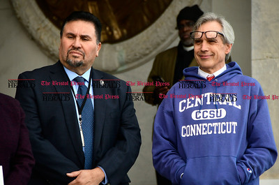 1/26/2017 Mike Orazzi | Staff State Representatives Robert Sanchez and Peter Tercyak during an education funding rally at the state capitol in Hartford Thursday morning.