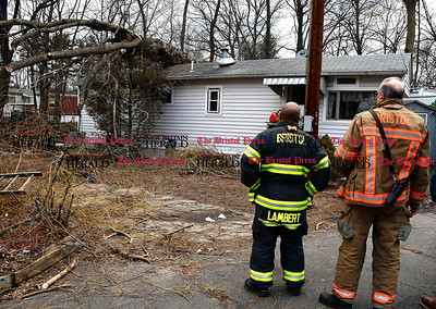 1/27/2017 Mike Orazzi | Staff Bristol firefighters from Engine 4 on scene of a large tree on a home in Creekside Estate Mobile Home Park off Broad Street in Bristol Friday.