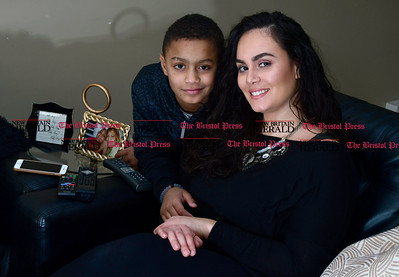 1/27/2017 Mike Orazzi | Staff Anellyse Boebel and her son Carmelo Thompson in Bristol Friday.