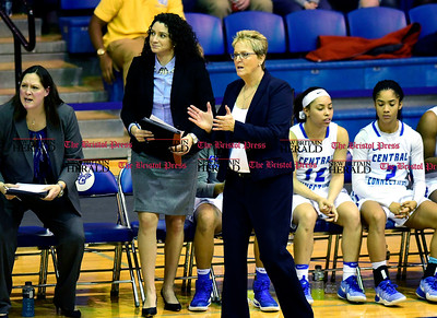 1/28/2017 Mike Orazzi | Staff CCSU women's basketball coach Beryl Piper during Saturday's basketball game in New Britain.