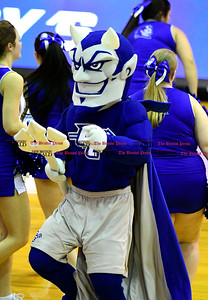 1/28/2017 Mike Orazzi | Staff The CCSU Blue Devil mascot during during Saturday's basketball game in New Britain.