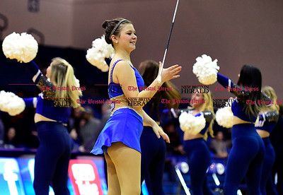 1/28/2017 Mike Orazzi | Staff Members of the CCSU Dance Team perform during Saturday's women's' basketball game with Bryant  in New Britain.
