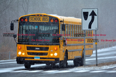 1/31/2017 Mike Orazzi | Staff A school bus in the snow on Route 72 in Bristol Tuesday.