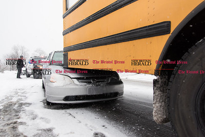 013117 Wesley Bunnell | Staff  An accident involving a Honda Civic and a school bus occurred at the intersection of Arch and Monroe St on Tuesday afternoon.